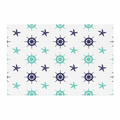 Afe Images Helm Wheel and Starfish Illustration Blue/Teal Area Rug Rug Size: 2 x 3