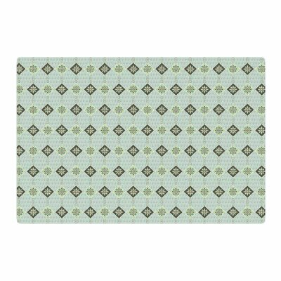 Afe Images Triangles And Flowers Illustration Blue/Green Area Rug Rug Size: 2 x 3