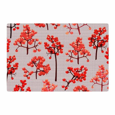 Pallerina Design Holiday Berry Twigs Floral Nature Red/Tan Area Rug Rug Size: 4 x 6
