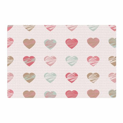 Afe Images Pastel Hearts Pattern Illustration Pink/Red Area Rug Rug Size: 4 x 6