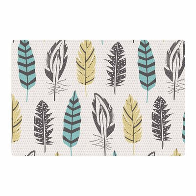 Amanda Lane Feathers Digital Teal/Gold Area Rug Rug Size: 4 x 6