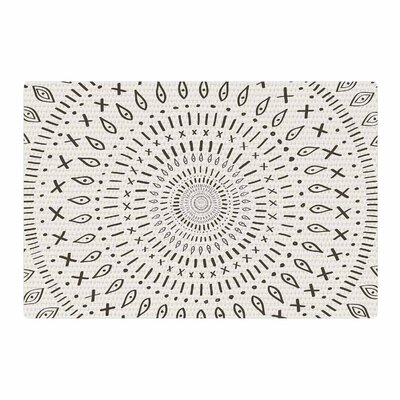 Amanda Lane Bohemian Tribal Mandala Digital Black/Beige Area Rug Rug Size: 2 x 3