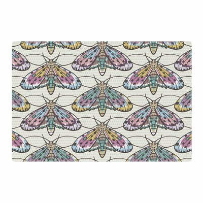 Amanda Lane Boho Gypsy Moth Digital Illustration Beige/Pink Area Rug Rug Size: 4 x 6