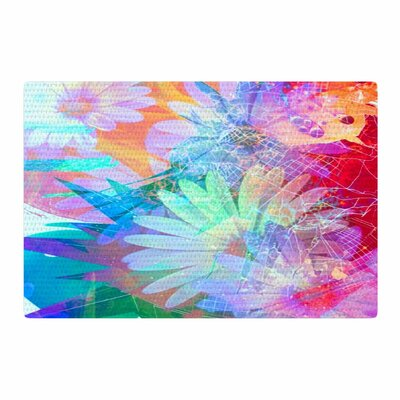 AlyZen Moonshadow Floral Meld Abstract Digital Blue/Magenta Area Rug Rug Size: 4 x 6