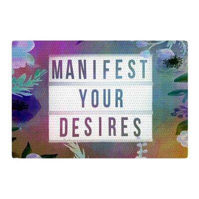 AlyZen Moonshadow Manifest Your Desires 1 Typography Lavender Purple/Blue Area Rug Rug Size: 4' x 6'