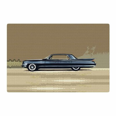 Bruce Stanfield Cadillac Fleetwood 1961 Digital Beige/Olive Area Rug Rug Size: 2' x 3'