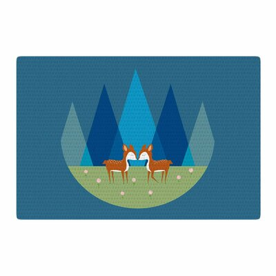 Cristina Bianco Design Cute Baby Deer Illustration Blue/Green Area Rug Rug Size: 2 x 3