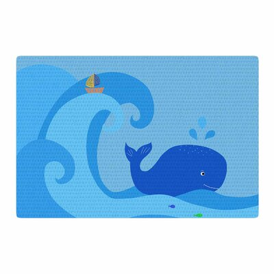 Cristina Bianco Design Whale Blue/Yellow Area Rug Rug Size: 4 x 6