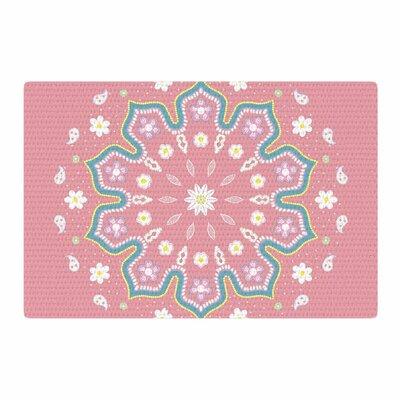 Cristina Bianco Design Mandala II Pink/White Area Rug Rug Size: 4 x 6