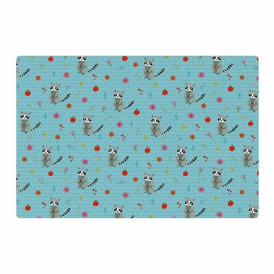 Cristina Bianco Design Cute Raccoon Pattern Illustration Blue/Gray Area Rug Rug Size: 4 x 6