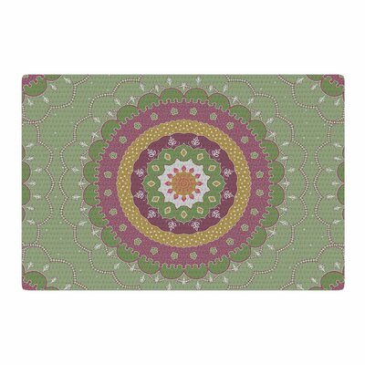 Cristina Bianco Design Green Pink Mandala Design Illustration Green/Pink Area Rug Rug Size: 2 x 3