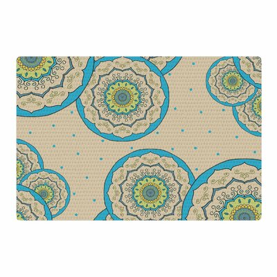 Cristina Bianco Design Blue Green Mandala Design Illustration Blue/Green Area Rug Rug Size: 4 x 6