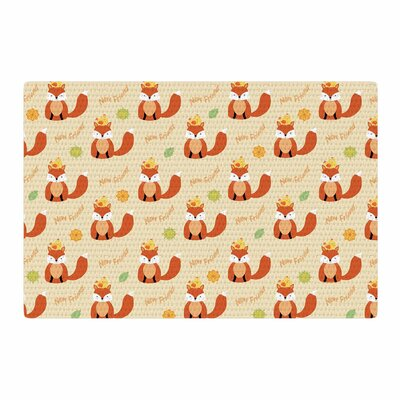 Cristina Bianco Design Fox New Friends Pattern Illustration Orange/Yellow Area Rug Rug Size: 2 x 3