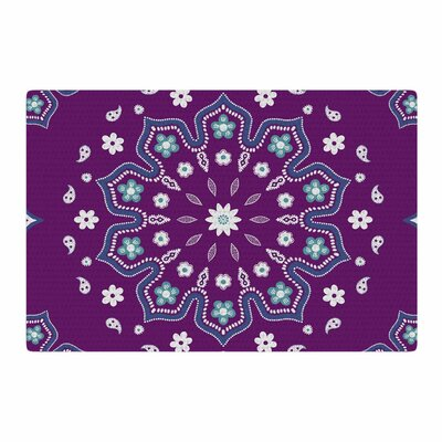 Cristina Bianco Design Mandala Illustration Purple/White Area Rug Rug Size: 2 x 3
