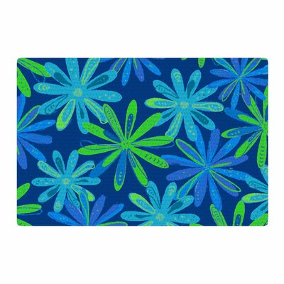 Cristina Bianco Design Floral Pattern Illustration Green/Blue Area Rug Rug Size: 4 x 6