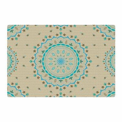 Cristina Bianco Design Mandala Painting Blue/Beige Area Rug Rug Size: 4 x 6