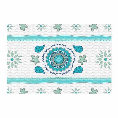 Cristina Bianco Design Mandala Design Blue/White Area Rug Rug Size: 2 x 3