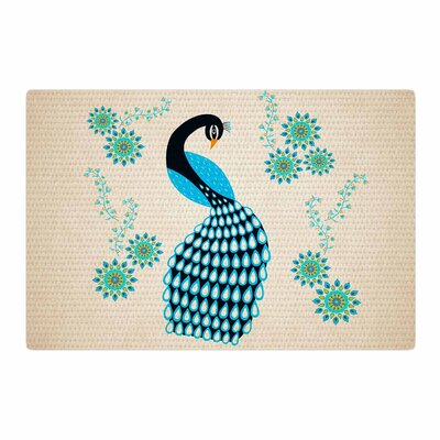 Cristina Bianco Design Peacock Illustration Blue/Black Area Rug Rug Size: 2 x 3