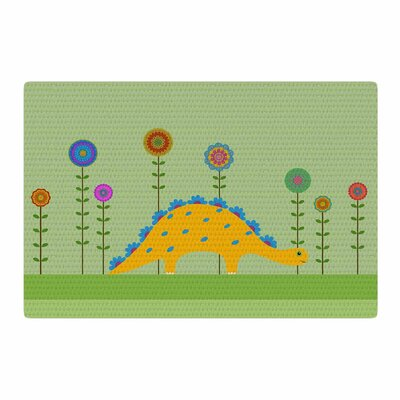 Cristina Bianco Design Cute Dinosaur Illustration Green/Yellow Area Rug Rug Size: 2 x 3