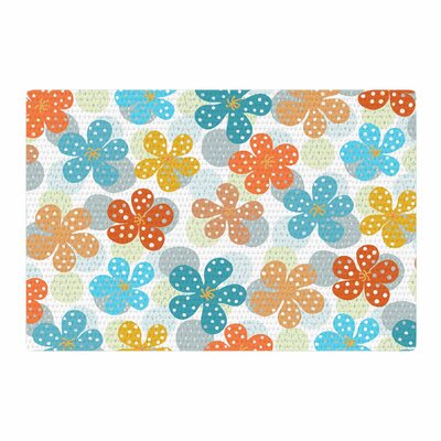 Cristina Bianco Design Floral Pattern Illustration Blue/Orange Area Rug Rug Size: 4 x 6