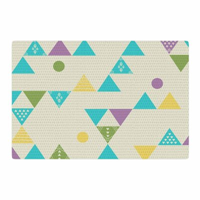 Cristina Bianco Design Colorful Triangles Illustration Blue/Lavender Area Rug Rug Size: 2 x 3