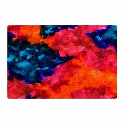 Claire Day Jaded Magenta Abstract Painting Teal Area Rug Rug Size: 2 x 3
