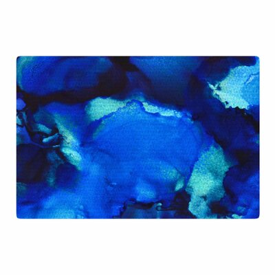 Claire Day Mountain Stream Abstract Painting Blue/Teal Area Rug Rug Size: 2 x 3