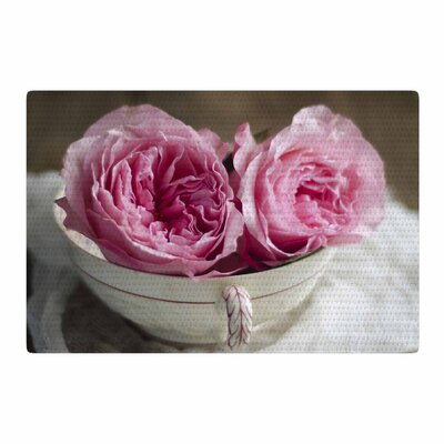 Cristina Mitchell Roses In A Tea Cup Floral Photography Pink/White Area Rug Rug Size: 2 x 3