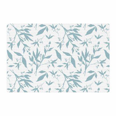 Zara Martina Leafy Silhouettes Painting White/Blue Area Rug Rug Size: 4 x 6