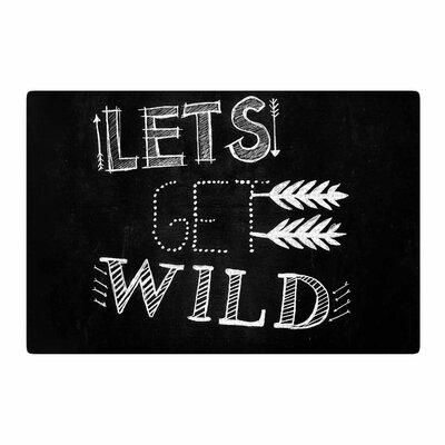 Chelsea Victoria Lets Get Wild Illustration Typography Black/White Area Rug Rug Size: 2 x 3