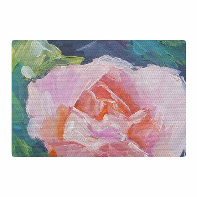 Carol Schiff Coral Rose Painting Coral/Green Area Rug Rug Size: 2 x 3