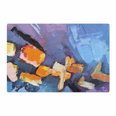 Carol Schiff Mardi Gras Painting Blue/Lavender Area Rug Rug Size: 4 x 6