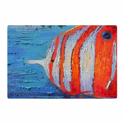 Carol Schiff Coral Reef Fish 1 Painting Blue/Orange Area Rug Rug Size: 2 x 3