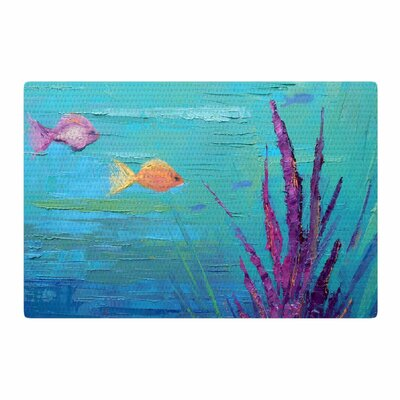 Carol Schiff Key Largo Coral Reef Painting Teal/Purple Area Rug Rug Size: 2 x 3