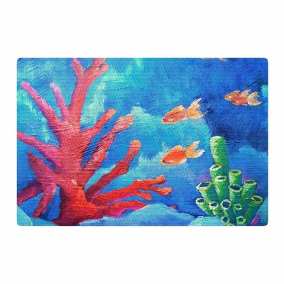Carol Schiff Key Largo Painting Blue/Coral Area Rug Rug Size: 2 x 3