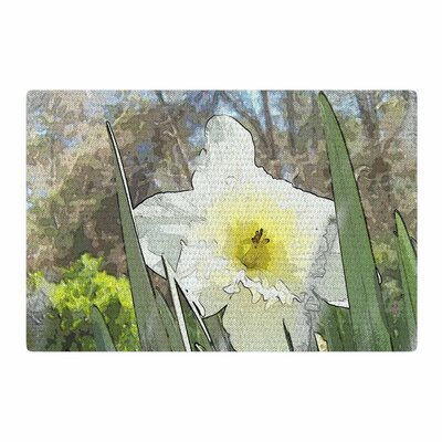 Cyndi Steen Daffodil Digital White/Green Area Rug Rug Size: 4 x 6