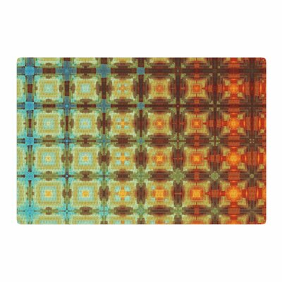 Cvetelina Todorova Colorful Grid Digital Yellow/Gold Area Rug Rug Size: 4 x 6