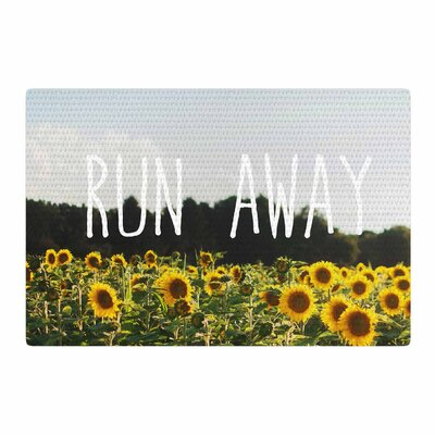 Chelsea Victoria Run Away Travel Typography Blue/Yellow Area Rug Rug Size: 4 x 6