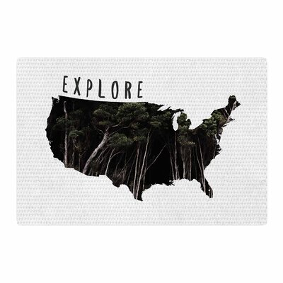 Chelsea Victoria Explore Illustration Typography Black/White Area Rug Rug Size: 2 x 3