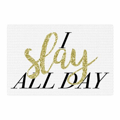 Chelsea Victoria I Slay All Day Mixed Media Gold/Black Area Rug Rug Size: 4 x 6