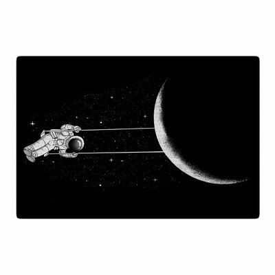 Digital Carbine Moon Swing Illustration Black/Fantasy Area Rug Rug Size: 4 x 6