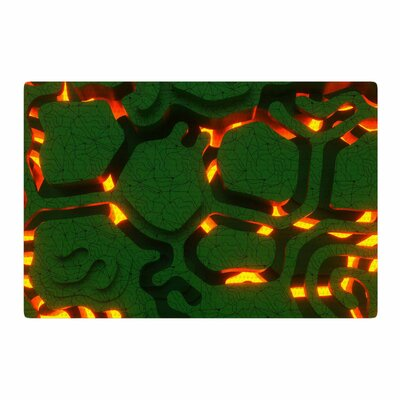 Danny Ivan Reasons Digital Green/Orange Area Rug Rug Size: 2 x 3