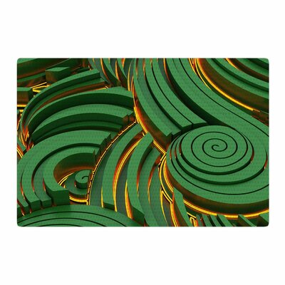 Danny Ivan Infinity Digital Green/Orange Area Rug Rug Size: 2 x 3