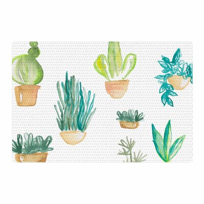 Jessi Blake Plants and Cacti Illustration Green/White Area Rug Rug Size: 4 x 6