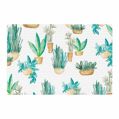 Danii Pollehn House Plants Illustration Green/White Area Rug Rug Size: 2 x 3