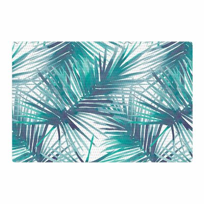 Danii Pollehn Palm Tree Branches Illustration Blue/Green Area Rug Rug Size: 2 x 3