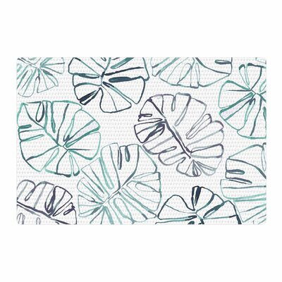 Danii Pollehn Monstera Illustration White/Green Area Rug Rug Size: 4 x 6