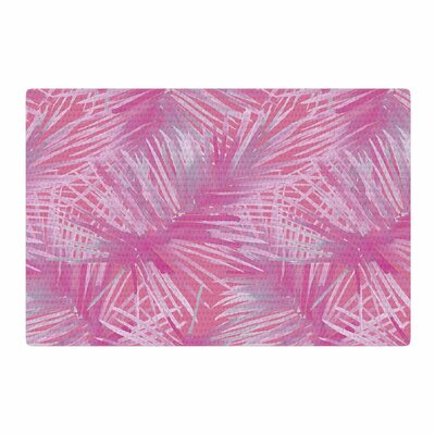 Danii Pollehn Leaves Illustration Pink/White Area Rug Rug Size: 4 x 6