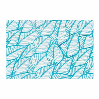 Danii Pollehne Leaves Illustration Blue/White Area Rug Rug Size: 2 x 3