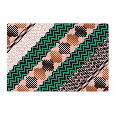 Akwaflorell Knitted 2 Pattern Coral/Green Area Rug Rug Size: 2 x 3